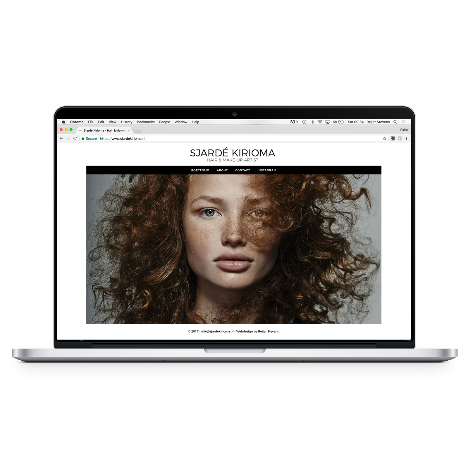 Portfolio website Sjardé Kirioma - Reijer Stevens webdesign Amsterdam